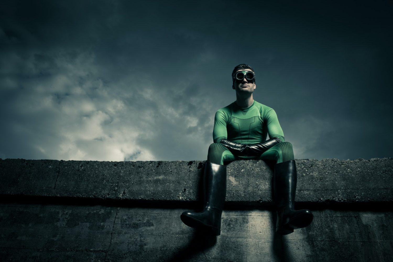 Superhero looking away